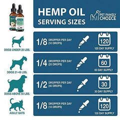 Pet Family Choice Hemp Oil for Dogs and Cats - 100% Organic Food Supplement - Grown in USA - for Anxiety and Pain Relief - Stress Calming Support - Easily Apply to Treats - 250 mg