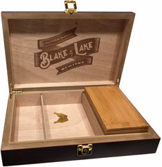 Blake & Lake Wood Stash Box with Rolling Tray - Stash Box with Lock and Key -