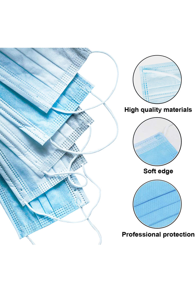 50 Pcs Disposable Face Masks with Elastic Ear Loop 3 Ply for Blocking Dust Air Pollution Protection