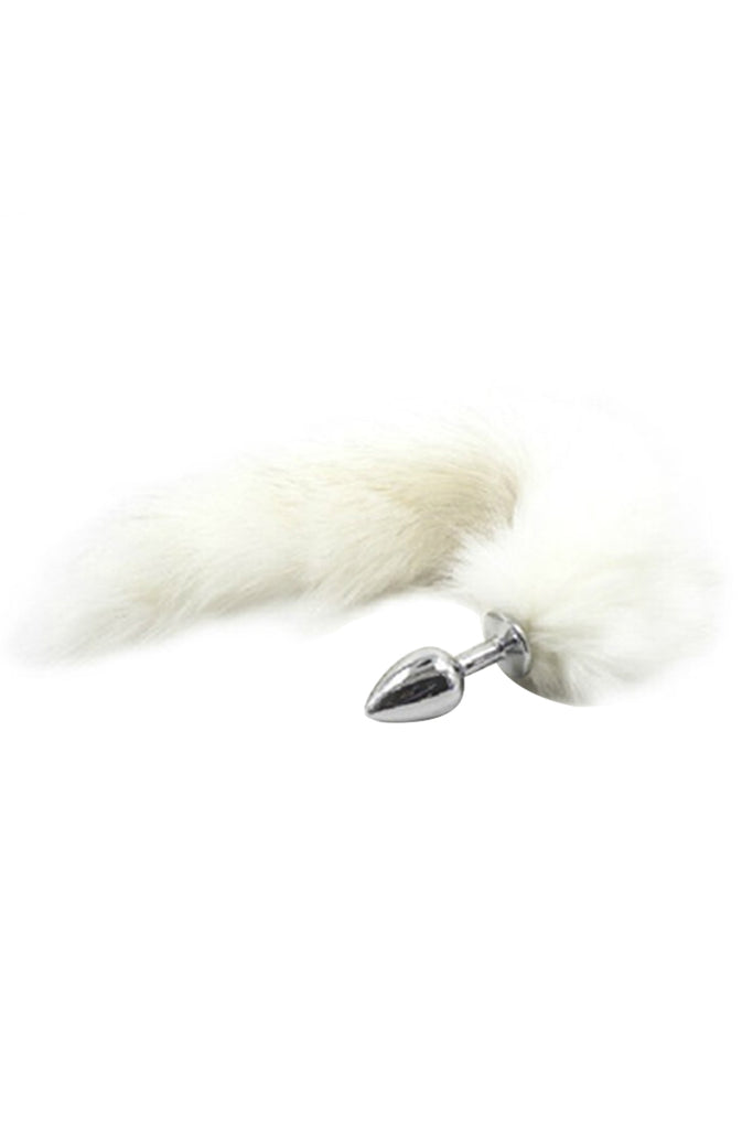 Faux fur Foxy Tail Metal Butt Plug with Flared Safety Base