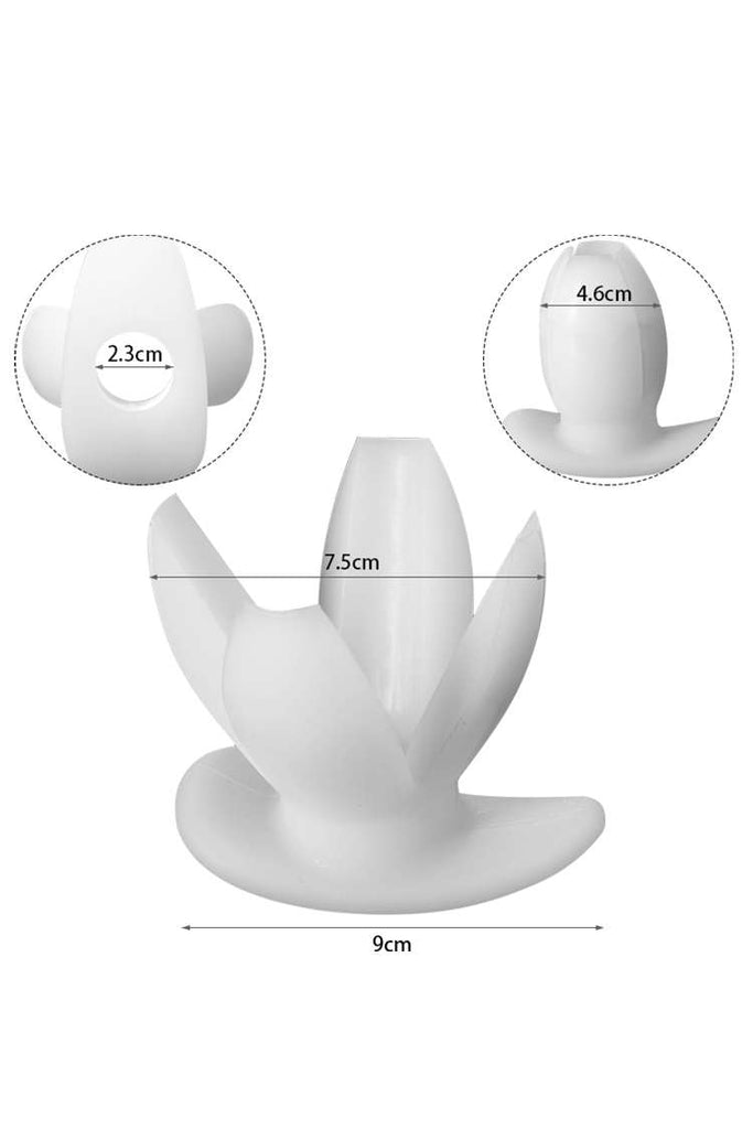 Petals Anal Dilator Silicone Hollow Butt Plug Black White