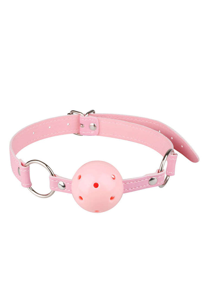 Breathable Pink Leather Ball Mouth Gag