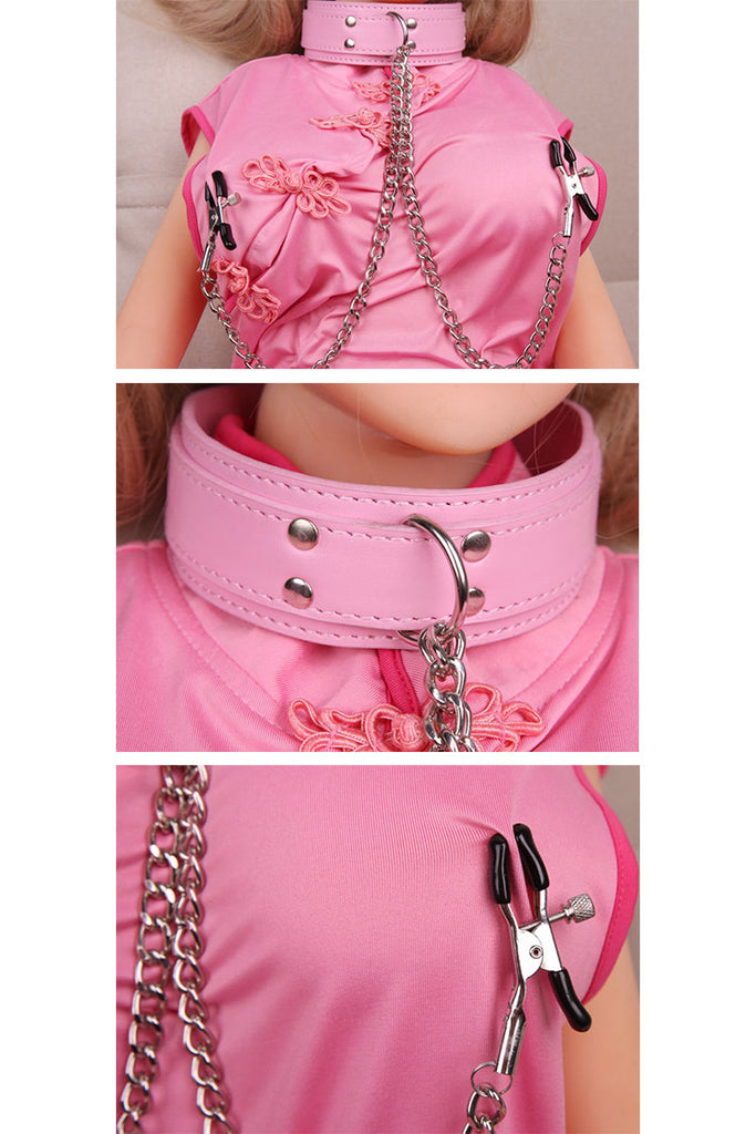 Pink Leather Collar with Nipple Clamps Set
