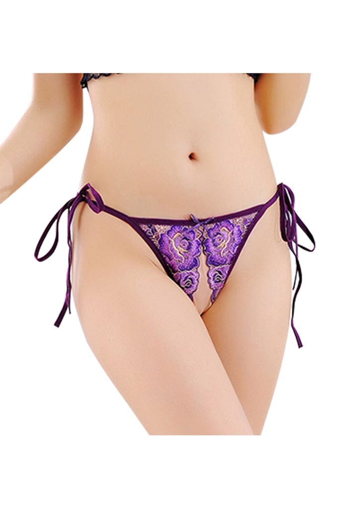 Sexy Embroidered Adjustable Side Tie Crotchless panties