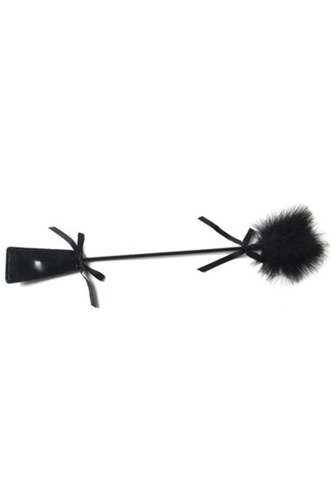 Bowknot Decorated Feather Tickler with Leather Handle