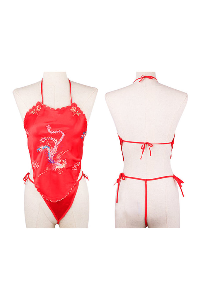 Retro Embroidery Stomachers and Matching Thong Red