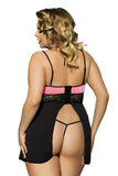 Plus Size Sexy Open-Back Babydoll Set