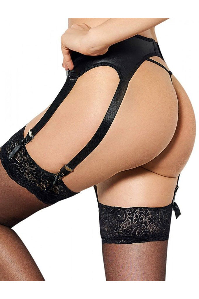 Plus Size Faux Leather Garter Belt Set