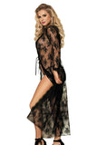 Plus Size Floral Lace Sheer Lingerie Robe