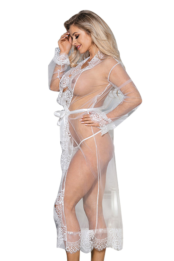 Plus Size Sexy Sheer Floral Lace Lingerie Robe