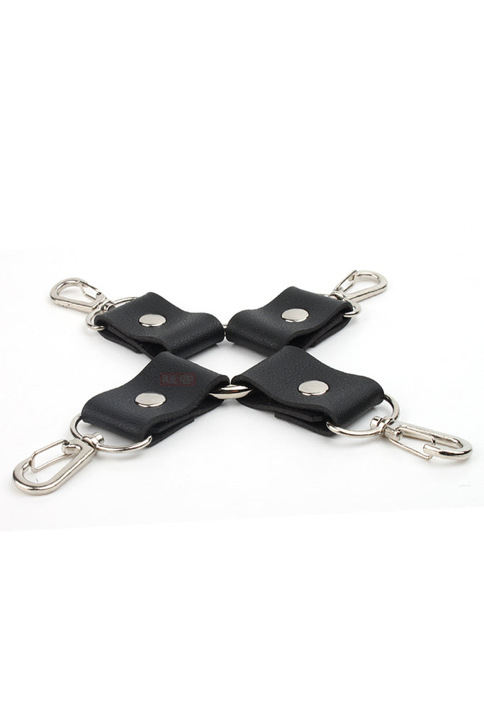 Leather Hogtie Restraint with Metal Swivel Snap Hook