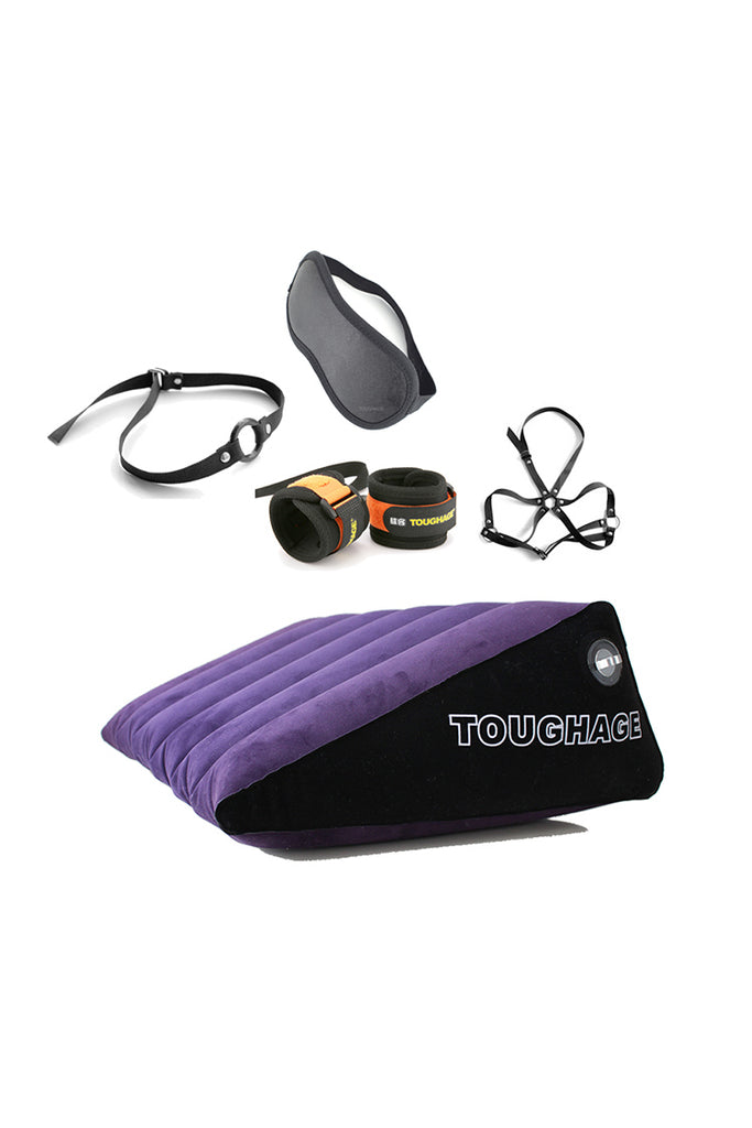 Inflatable Postition Pillow bundle with Blindfold Handcuffs Gag and Harness Bra