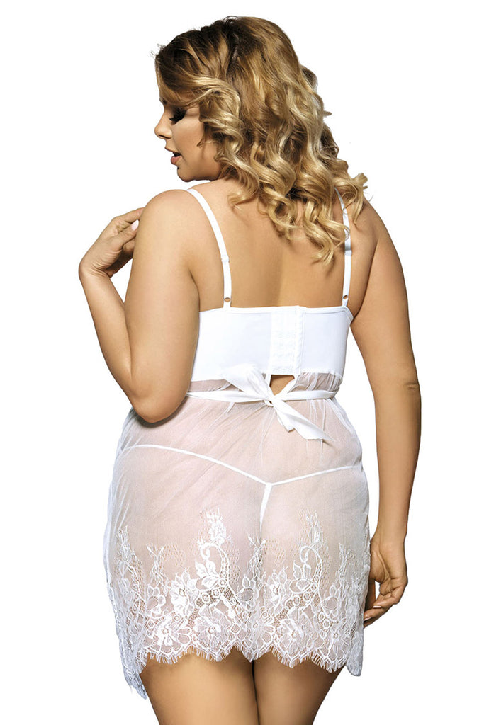 Plus Size Sexy Sheer Lace Lingerie Bridal Dress