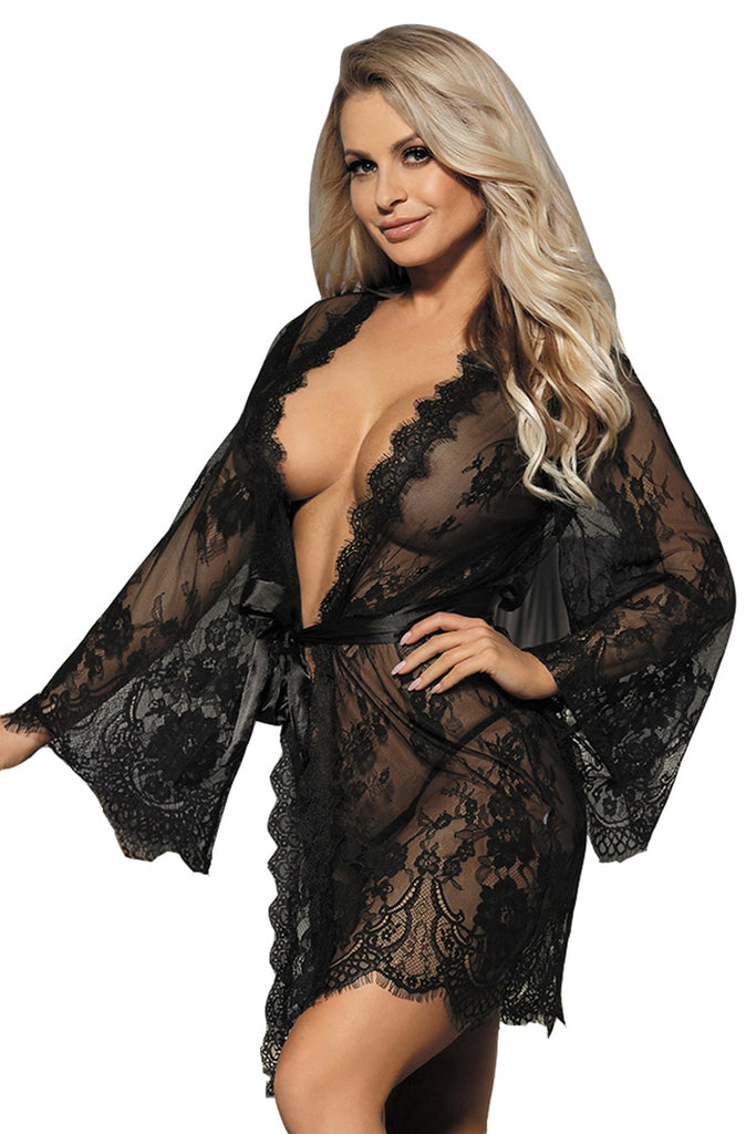 Plus Size Sexy Floral Lace Sheer Robe Set