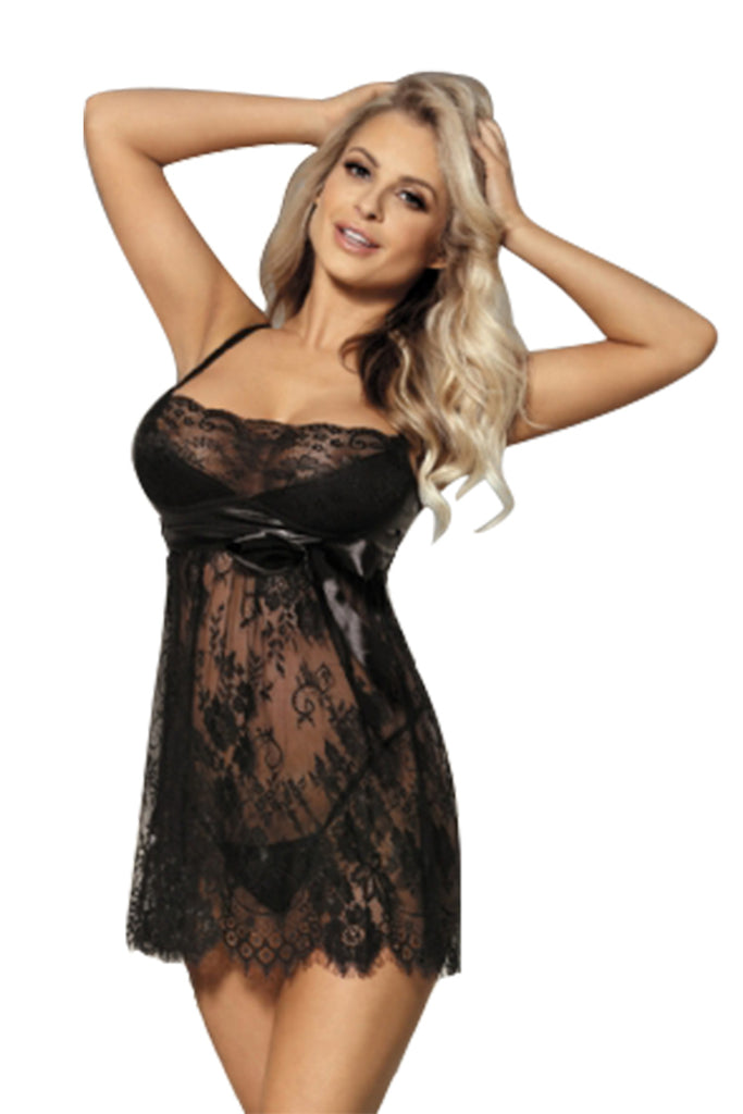 Plus Size Sexy Sheer Floral Lace Babydoll and G-String Panties