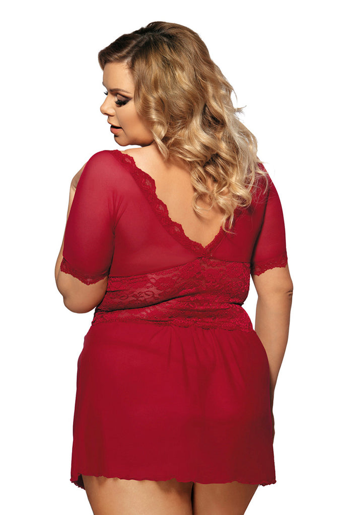 Plus Size Sexy Deep V-Neck Short Sleeve Mini Dress