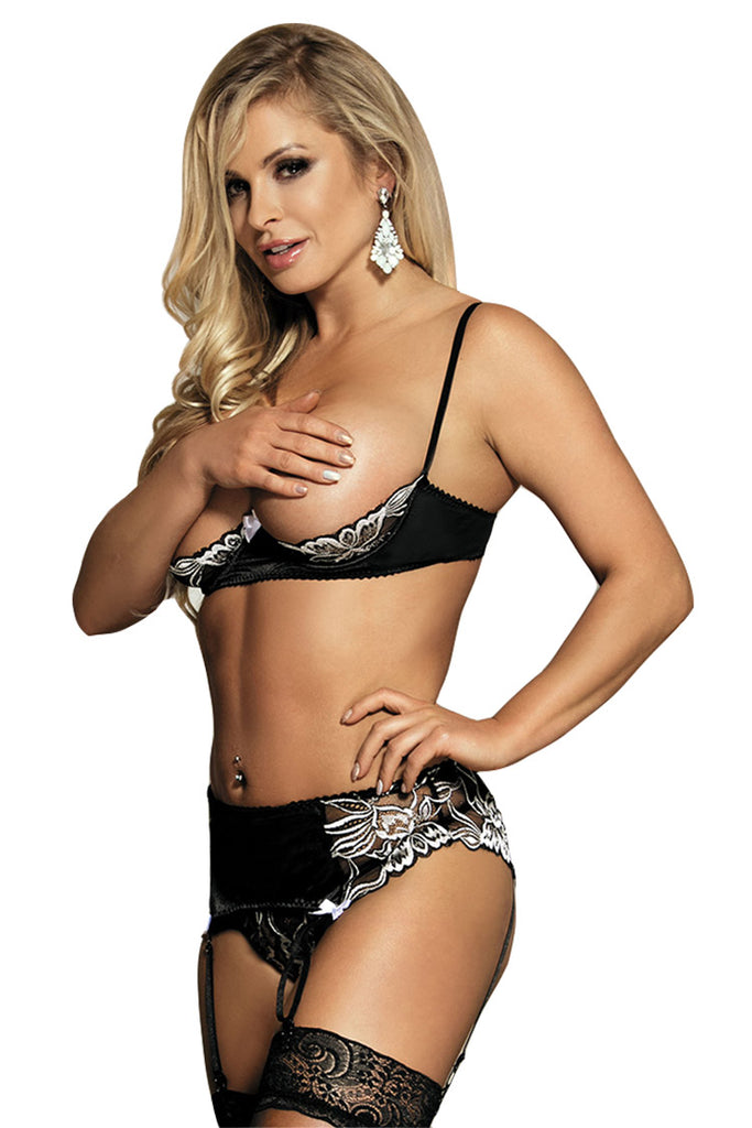 Quarter Cup Bra and Garter Belt Set 3pc