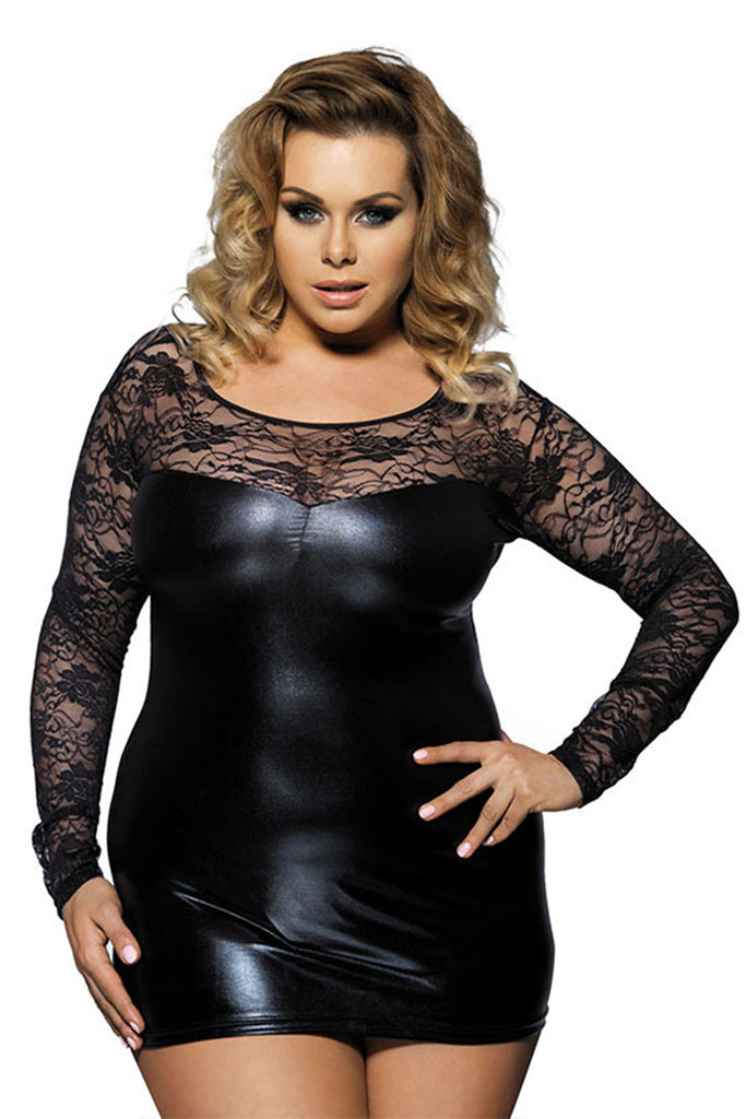Plus Size Long Sleeve Lace Faux Leather Bodycon Dress
