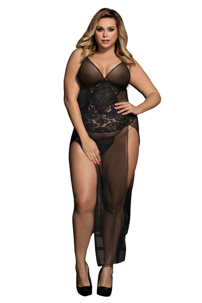 Plus Size Sheer Floral Lace Side Slit Maxi Nightdress