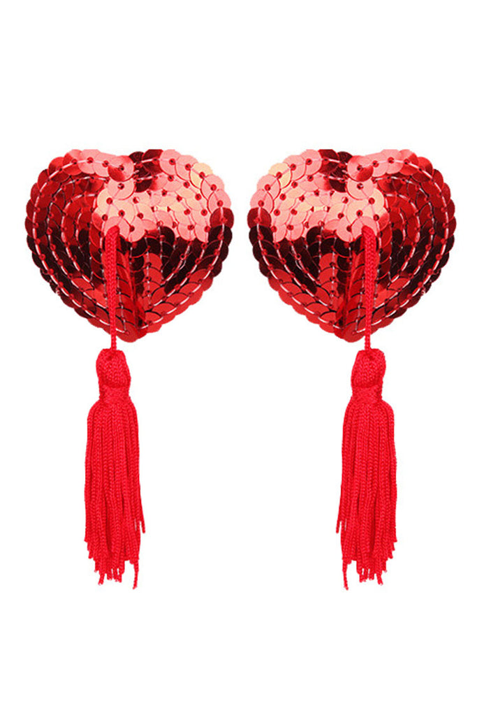 Heart Shaped Sequin Nipple Pasties with Tassel Red Black