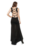 Scoop Neck Sleeveless Side Slit Lace Up Maxi Dress