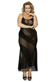 Plus Size Sexy Spiral Semi Sheer Lace Maxi Nightdress