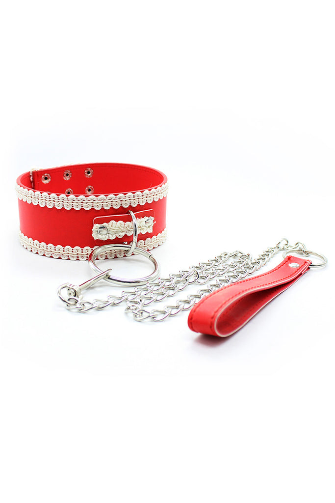 Leather Collar and Chain Leash Set