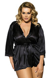 Plus Size Satin Lace Spliced Robe Lingerie