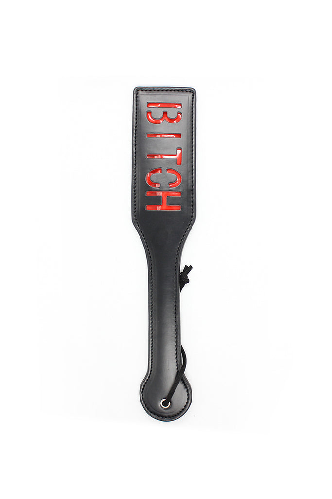 BITCH Letter Imprint Leather Slapper Spanking Paddle