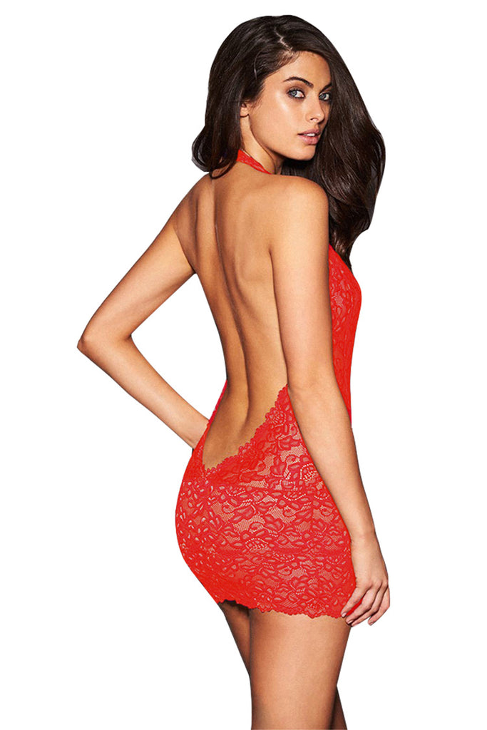 Halter Neck Open Front Lace Mini Dress