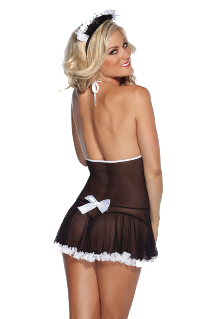 Sexy Sheer Lace French Maid Roleplay Costume 3 Pcs Set