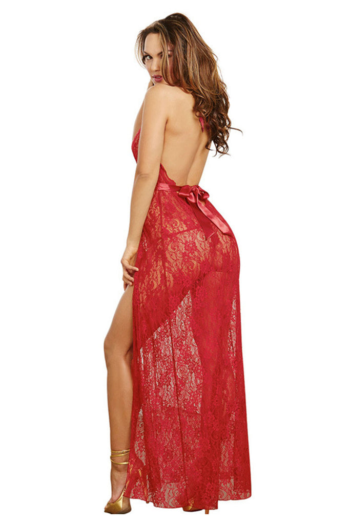 Plus Size Floral Lace Side Slit Maxi Dress