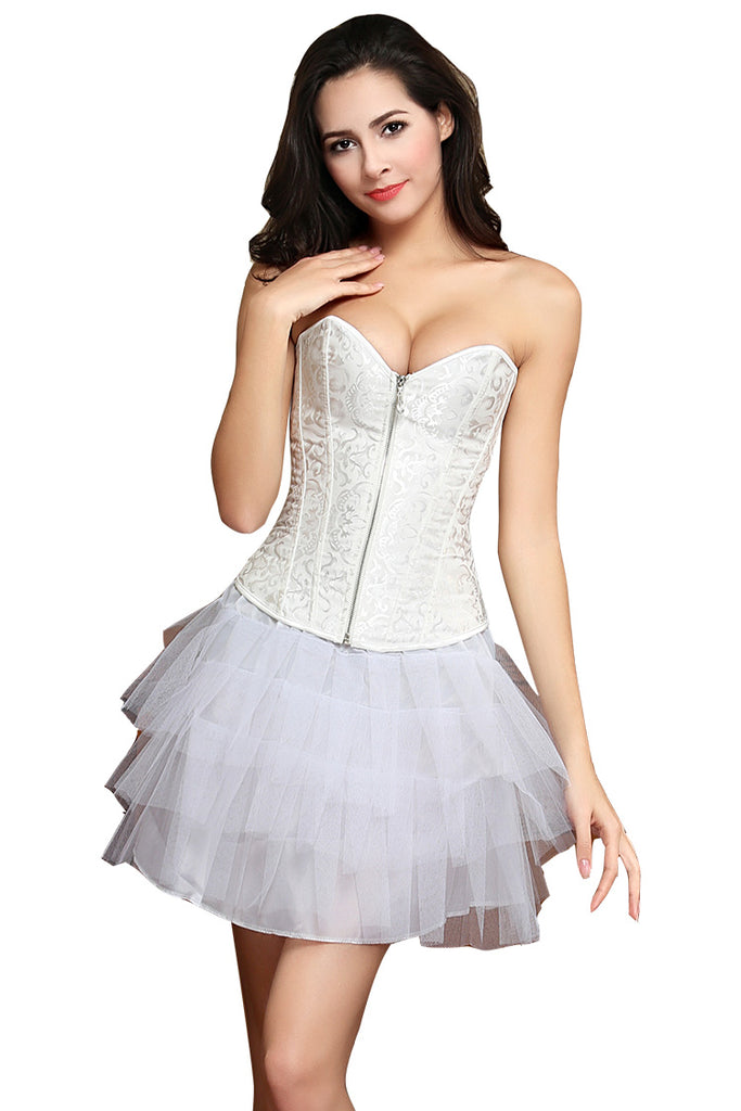 Bride Waist Training Corset Steel Boned Bustier Black White