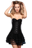 Brocade Laced Waist Training Corset Shaper  24 Steel Boned