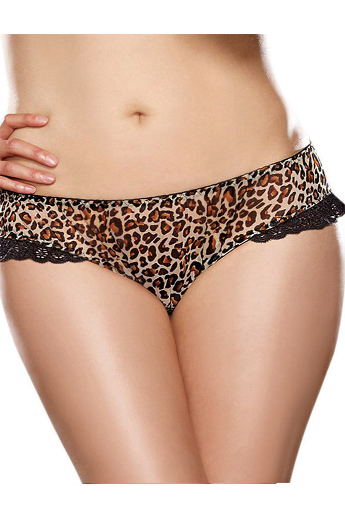 Leopard Printed Heart Shape Open Back Spanking Panties