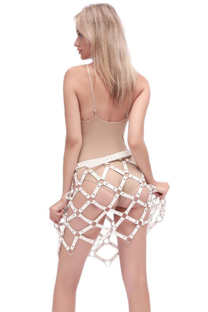 Leather Studs Cage Harness Skirt
