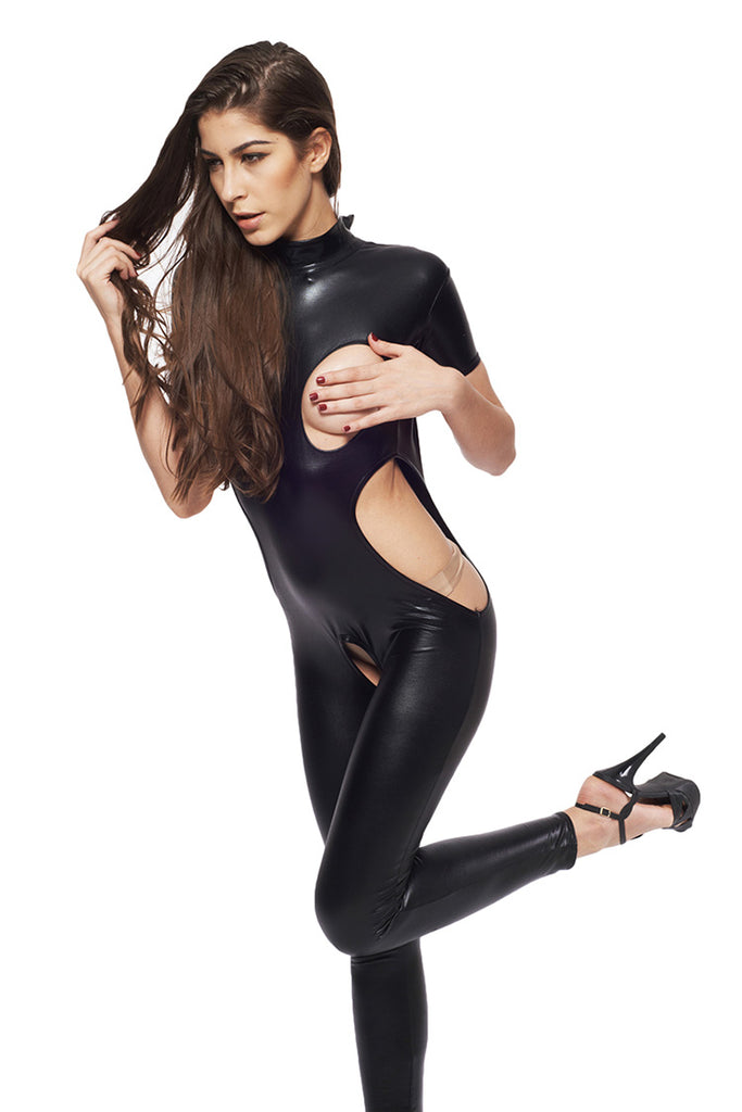 Wet Look Open Bra Crotchless Bodysuit
