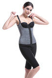 Gray Neoprene Waist Trainer with Zipper and Hooks 6 Steel Boned