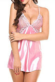 Satin Lace Babydoll and Thong
