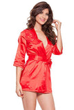 Short Satin Lace Robe Nightwear With Waist Satin Tie