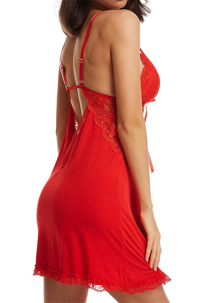 Plunge Neckline Satin Tie Black and Lace Chemise Black Red