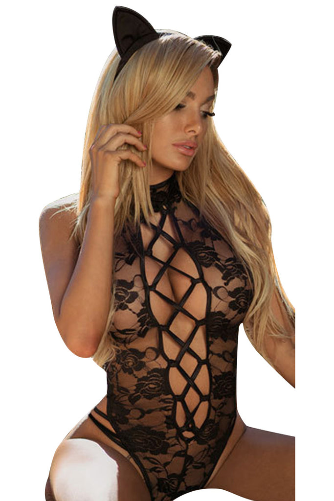 High Cut Hollow Out Lace Catgirl Costume Set