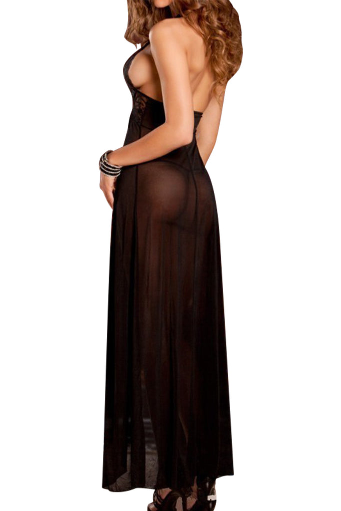 Backless Halter Sheer Maxi Dress