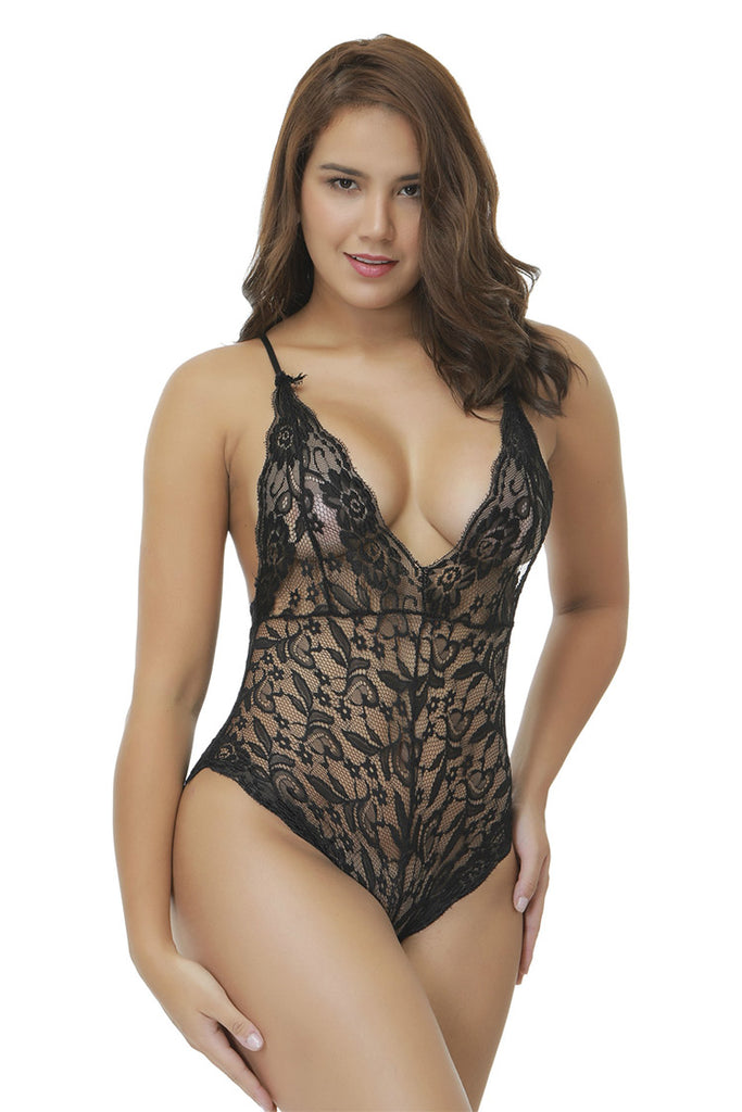 V-neck Racerback Lace Bodysuit - Black Rose