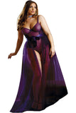 Purple Lace Basque Set with Maxi Skirt