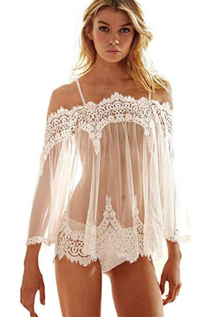 See Through Lace Babydoll and G-String Set