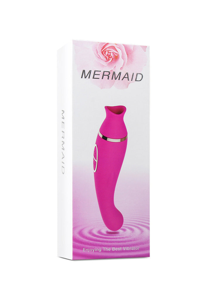 Mermaid Rechargeable Suction Vibrator Clitoral Stimulator Rose Red
