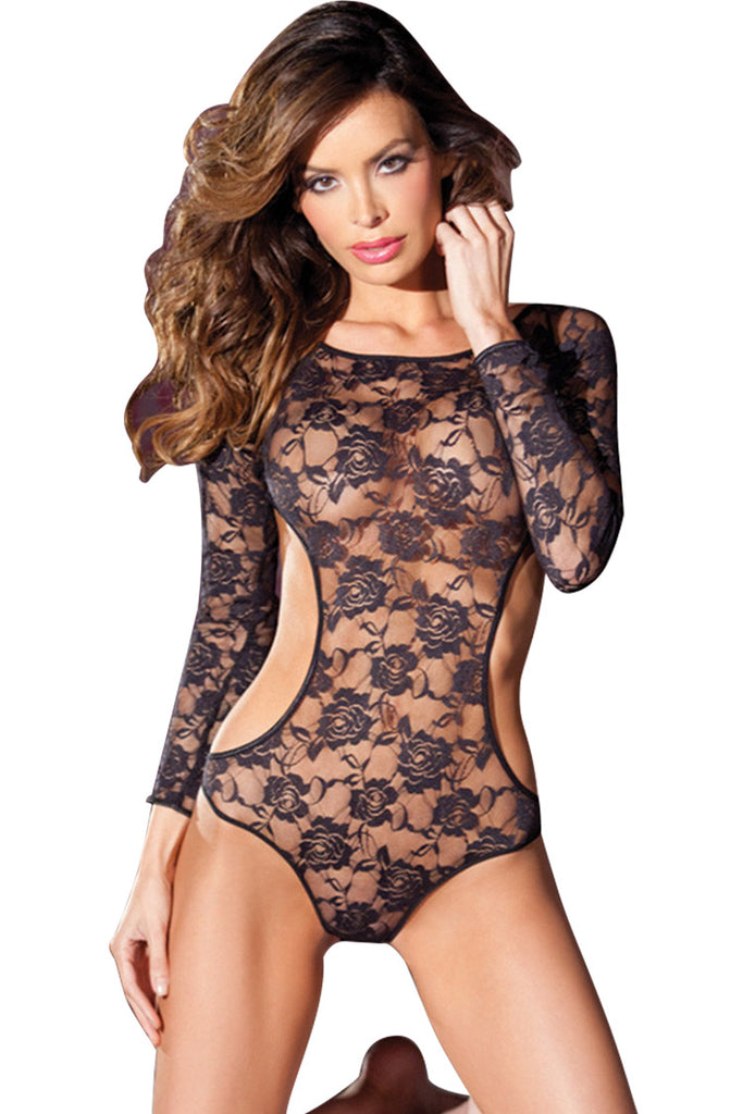Long Sleeve Sheer Floral-patterned Lace Bodysuit