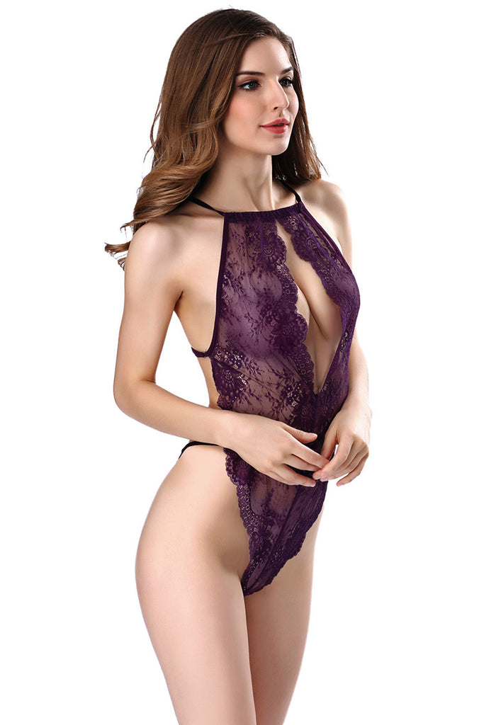 Cut-Out Halterneck Backless Sheer Lace Bodysuit