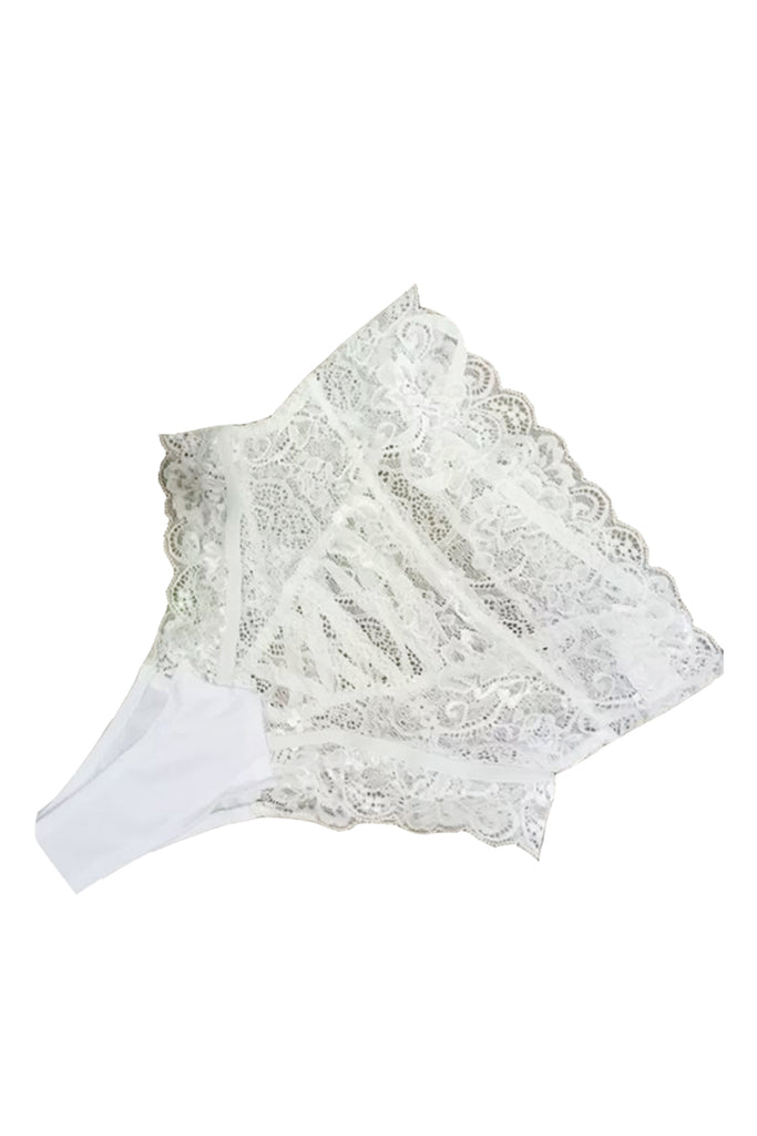 High Waisted Lace-Up Floral Lace Panties